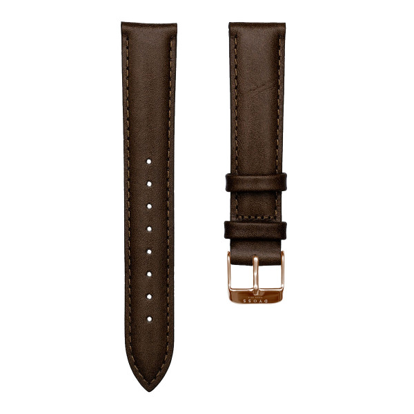 Dark Brown Rose Leather Straps-18-dây nâu đậm rosegold